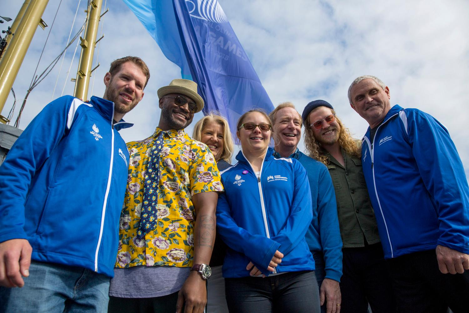 Actor-Singer Taye Diggs, and singer-songwriter Allen Stone joined Special Olympics USA athletes as they raised the Special Olympics flag on top of the Space Needle this morning.