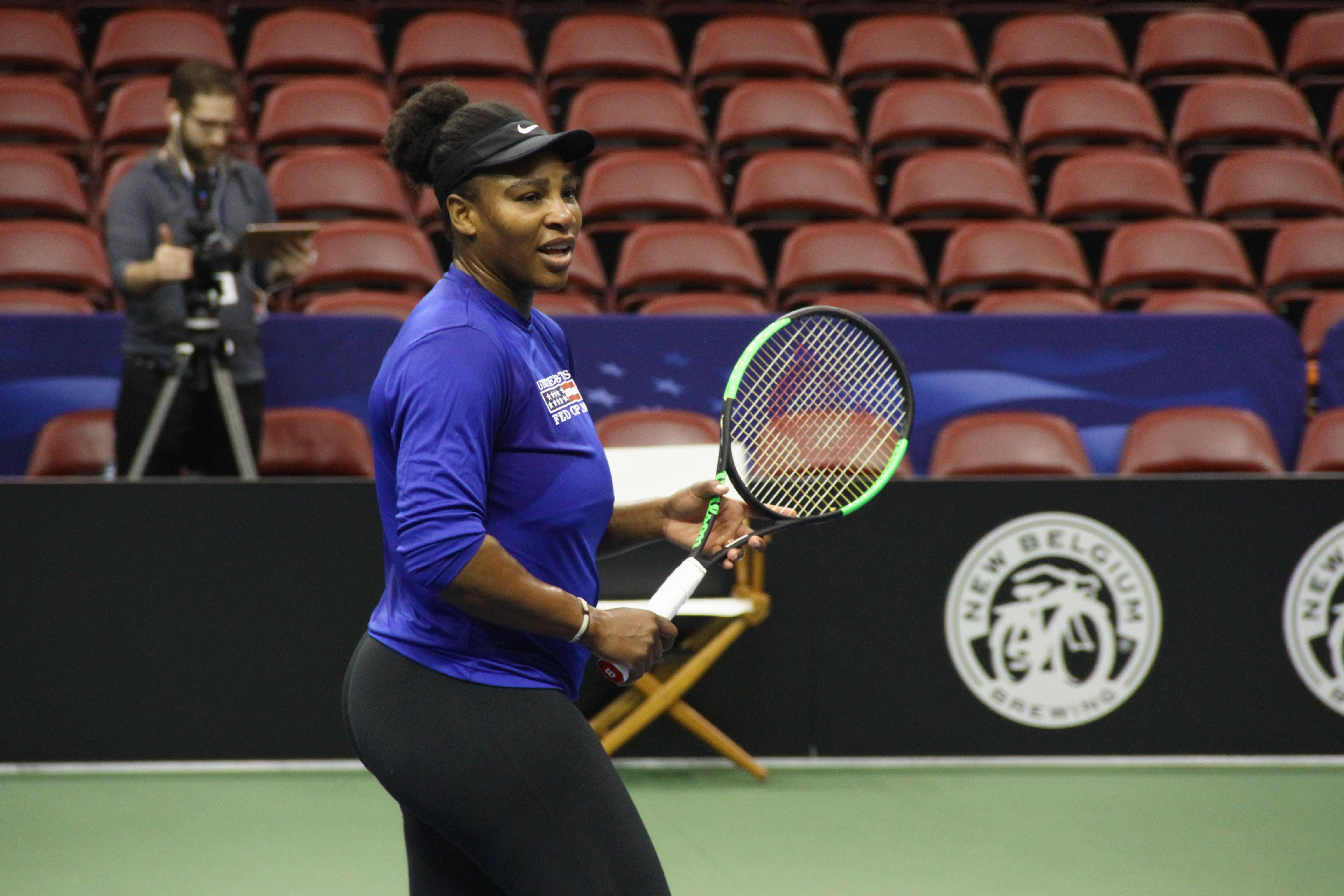 Serena Williams practices at the US Cellular Center on Feb. 7, 2018, ahead of the Fed Cup. (Photo credit: WLOS Staff)<p></p>