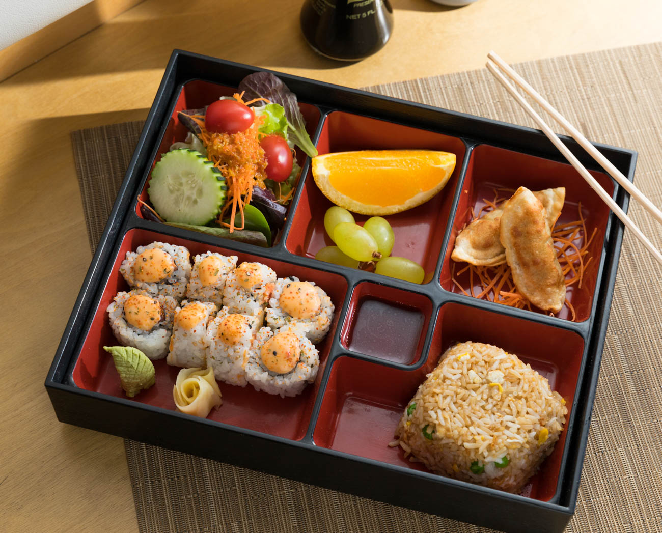 Lunch special bento box with spicy California roll{ }/ Image: Marlene Rounds // Published: 1.17.19