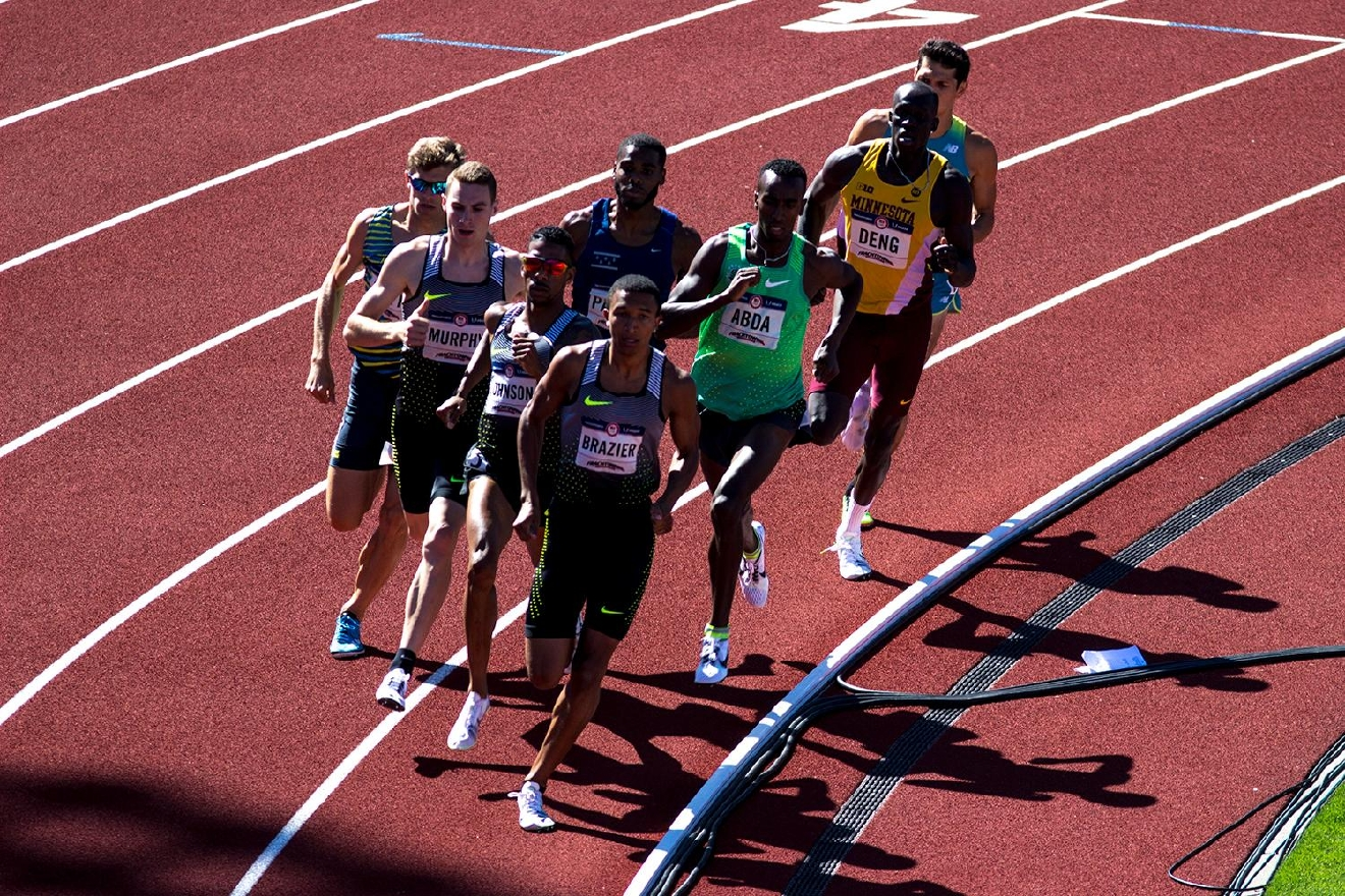 Nike�s Donavan Brazier leads his heat in the Men�s 800m run. He finished overall in 16th. Day one of the U.S. Olympic Trials began on Friday at Hayward Field in Eugene, Ore. And will continue through July 10. (Photo by Amanda Butt)