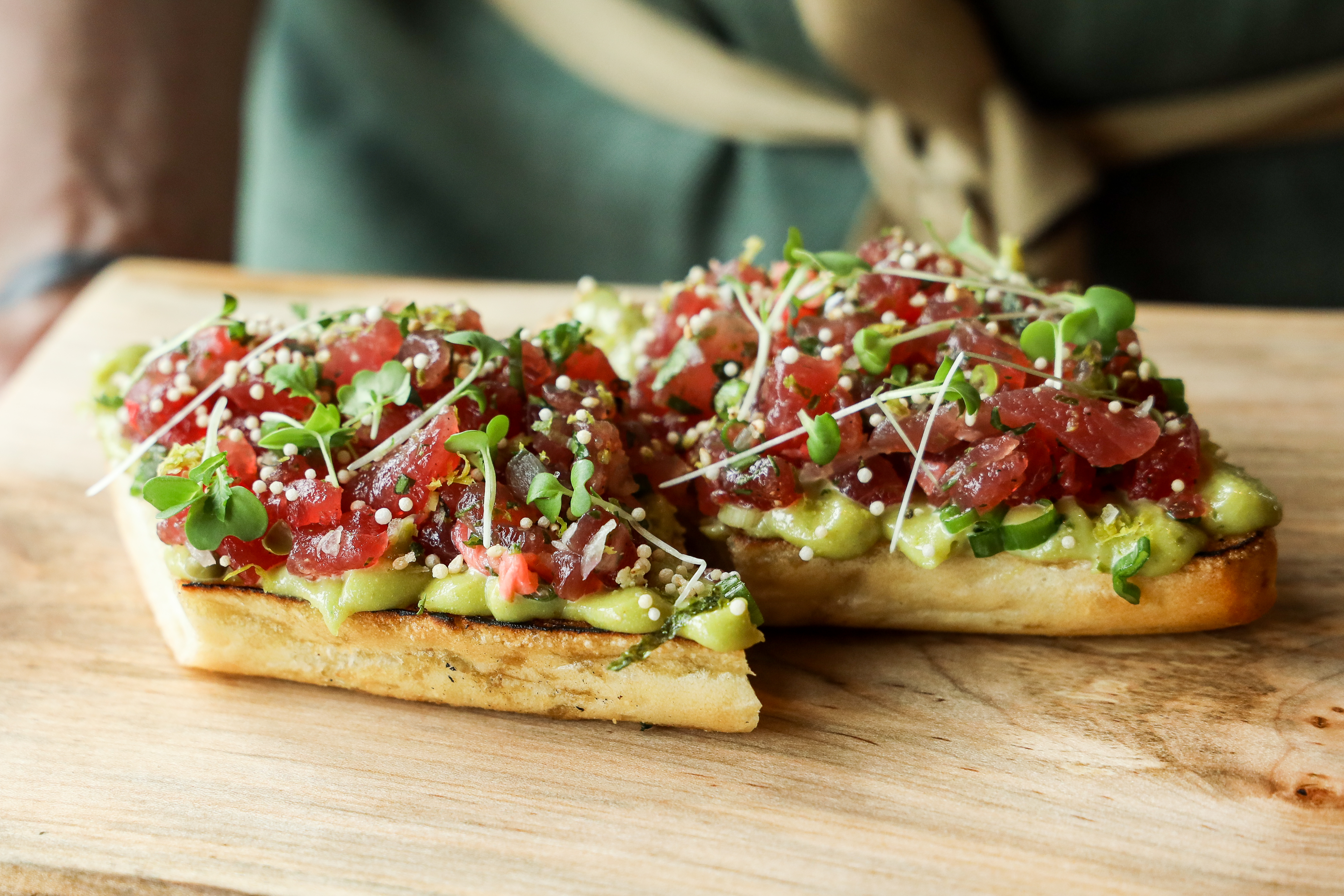 Tuna Tartine served with{ }wasabi aioli, pickled ginger, white soy vinaigrette (Image: Jennifer Chase)