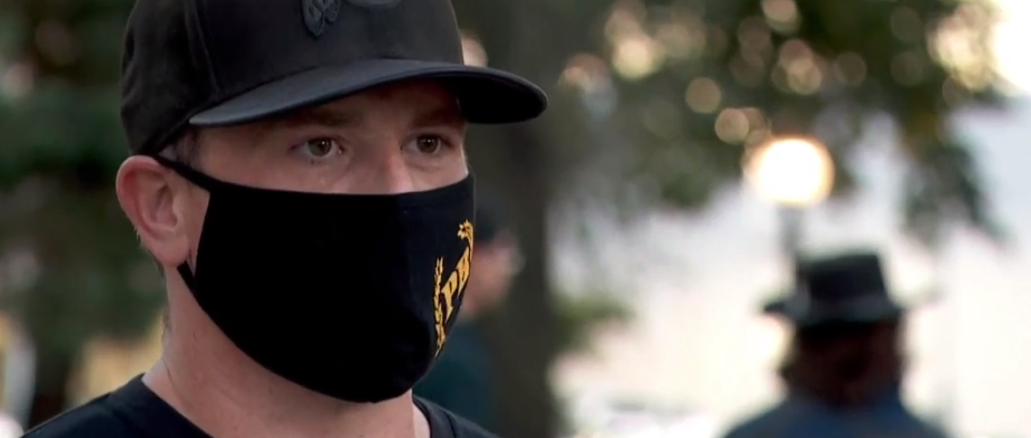 <p>A Salt Lake chapter of the Proud Boys gathered at Washington Square Wednesday night to try and change the narrative that they're racist. (Photo: KUTV)</p>