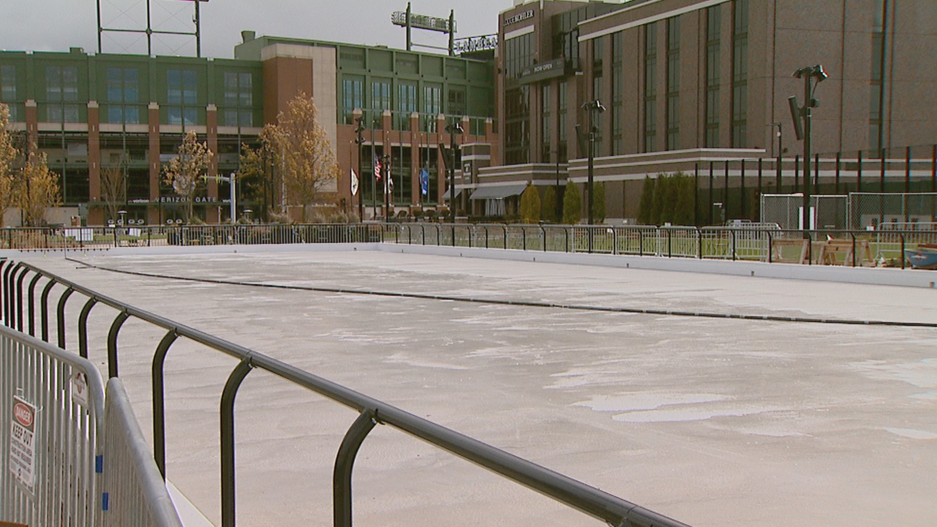 The ice makes its debut inside the Titletown District, November 9, 2017. (WLUK/Jessie Basinski)