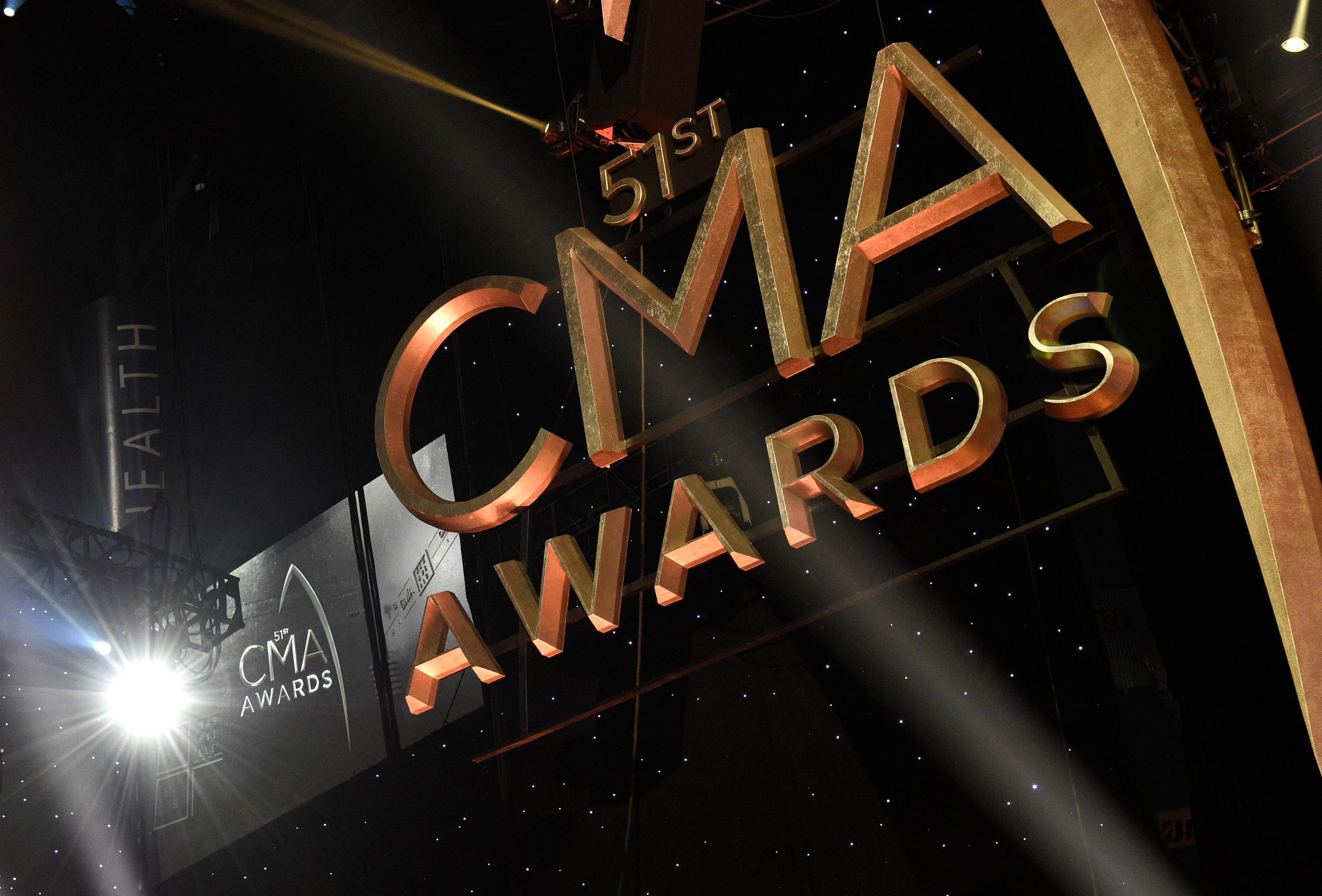 Signage for the 51st annual CMA Awards appears in lights at the Bridgestone Arena on Wednesday, Nov. 8, 2017, in Nashville, Tenn. (Photo by Chris Pizzello/Invision/AP)