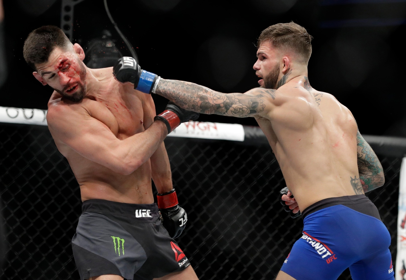 Cody Garbrandt, right, throws a punch to Dominick Cruz during a bantamweight championship mixed martial arts bout at UFC 207, Friday, Dec. 30, 2016, in Las Vegas. (AP Photo/John Locher)