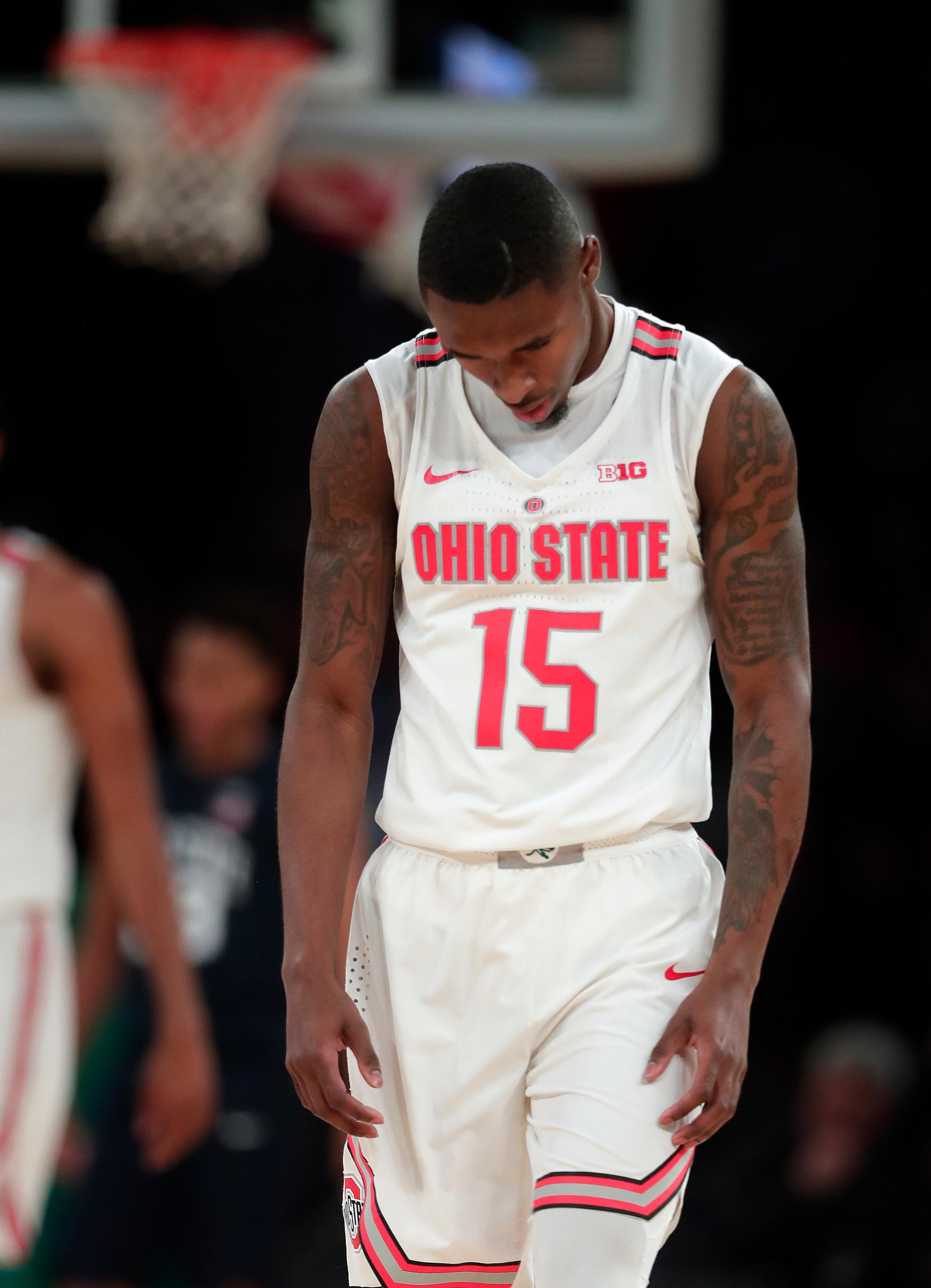 Ohio State guard Kam Williams (15) reacts after a turnover against Penn State during the second half of an NCAA Big Ten Conference tournament college basketball game, Friday, March 2, 2018, in New York. Penn State won 69-68. (AP Photo/Julie Jacobson)