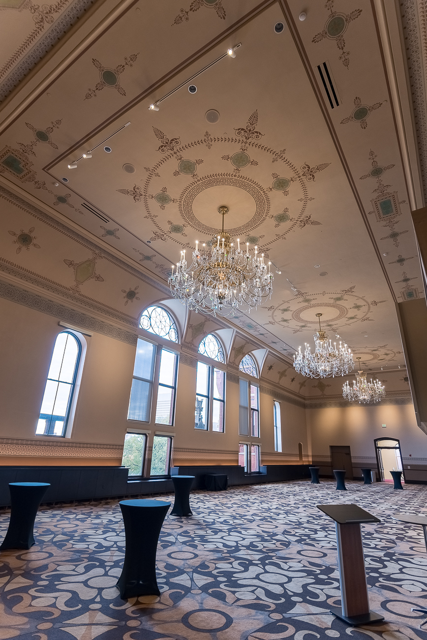 Corbett Tower received a significant facelift. The drop ceiling was removed to expose an intricate design above it. / Image: Phil Armstrong, Cincinnati Refined // Published: 11.11.17<p></p>