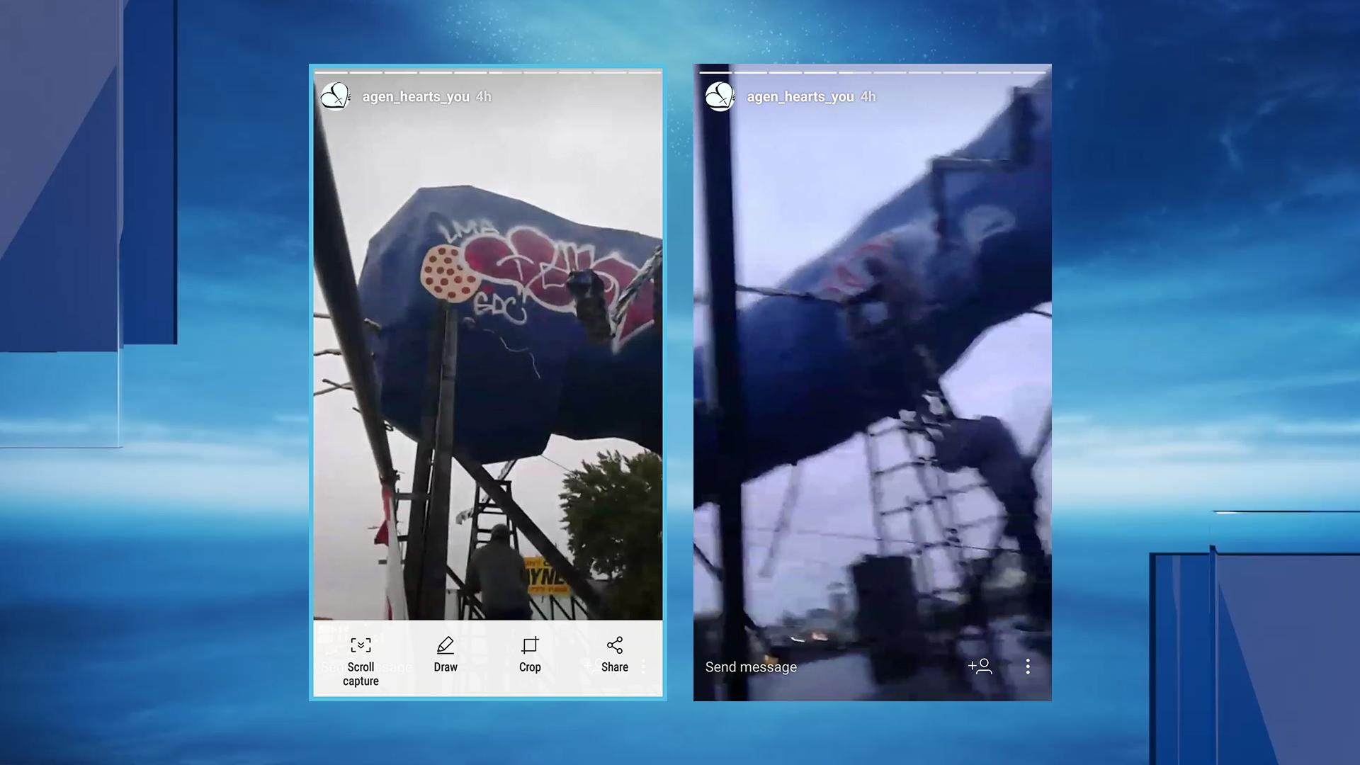Images shared by RI Problems with NBC 10 News purport to show the vandals who spray-painted graffiti on the Big Blue Bug. (RI Problems)