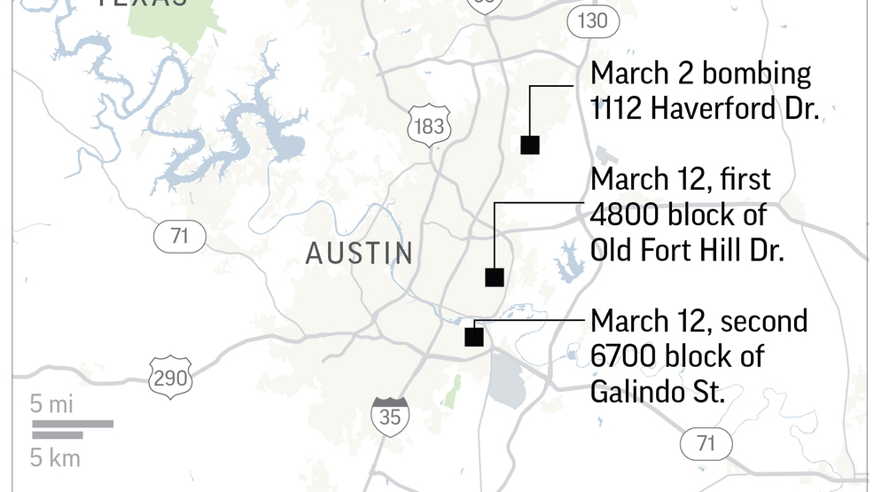 MAP Locations of three package explosions Austin Police say are