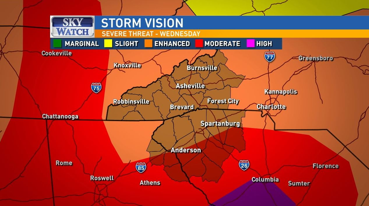 Wednesday Update: Severe weather returns before a cool down & mountain snow (Photo credit: WLOS Staff)