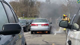 Caught on Camera: Fire crews quickly contain car fire at Wright State University