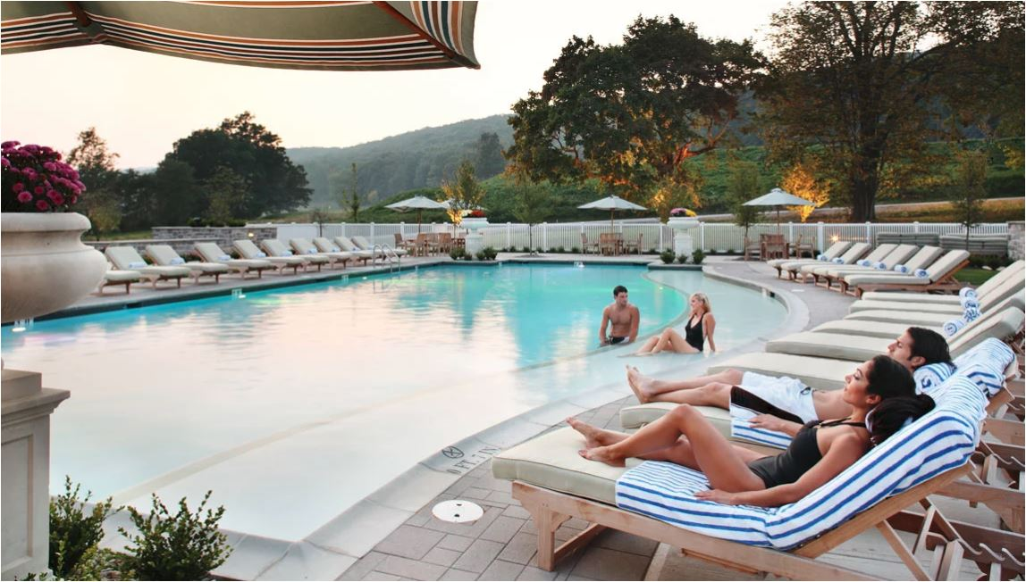 If your idea of embracing the great outdoors is relaxing by the pool, then check out one of two pool options at the Omni.{ }(Image: Courtesy Omni Bedford Springs)