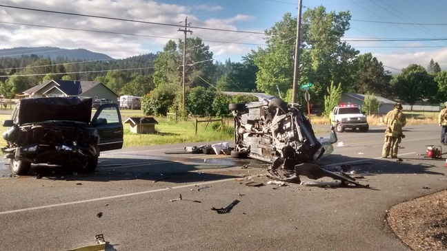 Head-on collision sends two the hospital, one person arrested