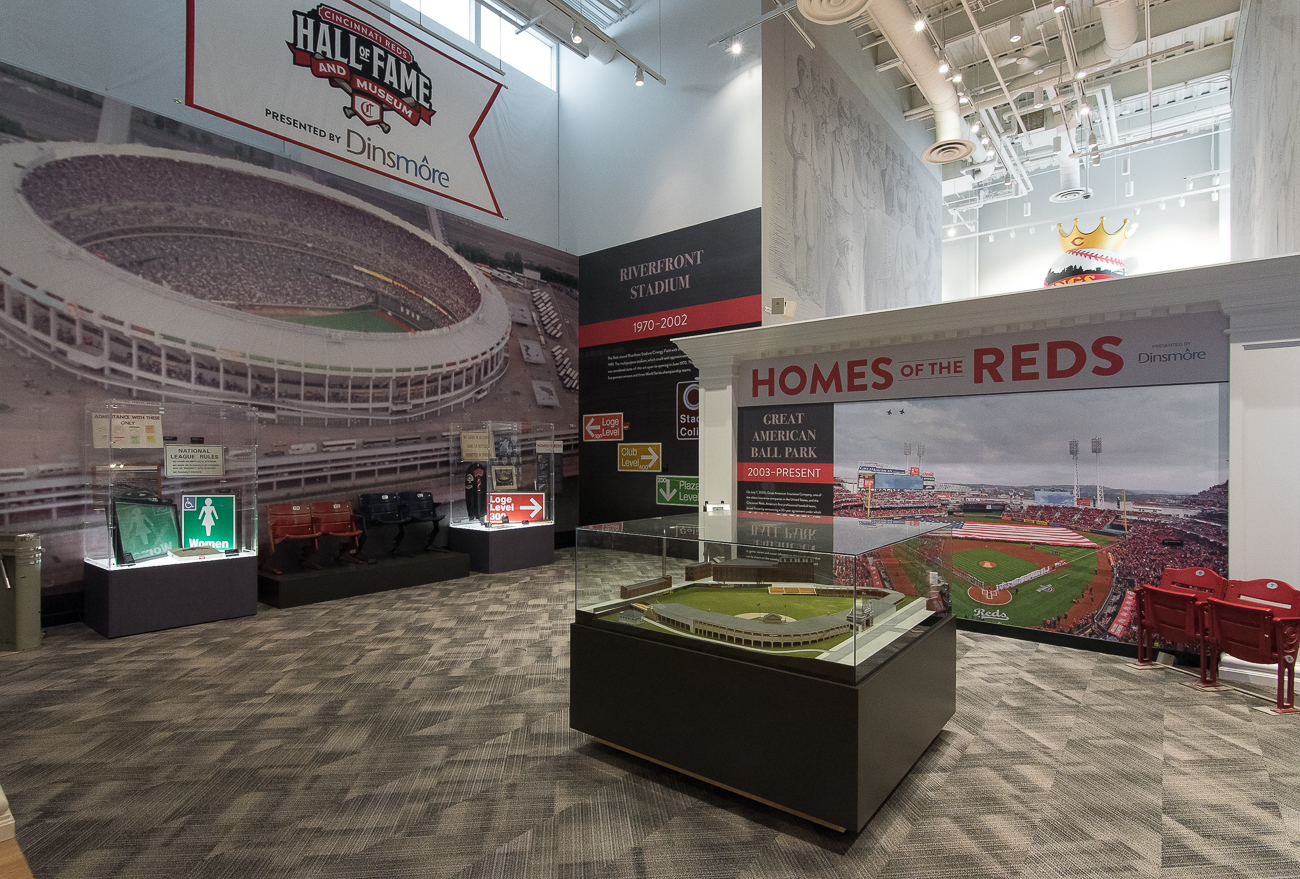 The Reds Hall of Fame Museum was totally renovated this year for the 150th anniversary of the team. Included in the remodel are over 7,000 artifacts from Reds history lining two floors of display cases, as well as nine new galleries. Notable pieces, such as the multi-story display of 4,192 baseballs representing Pete Rose's MLB hit record, stayed in the redesign. / Image: Phil Armstrong, Cincinnati Refined // Published: 4.20.19