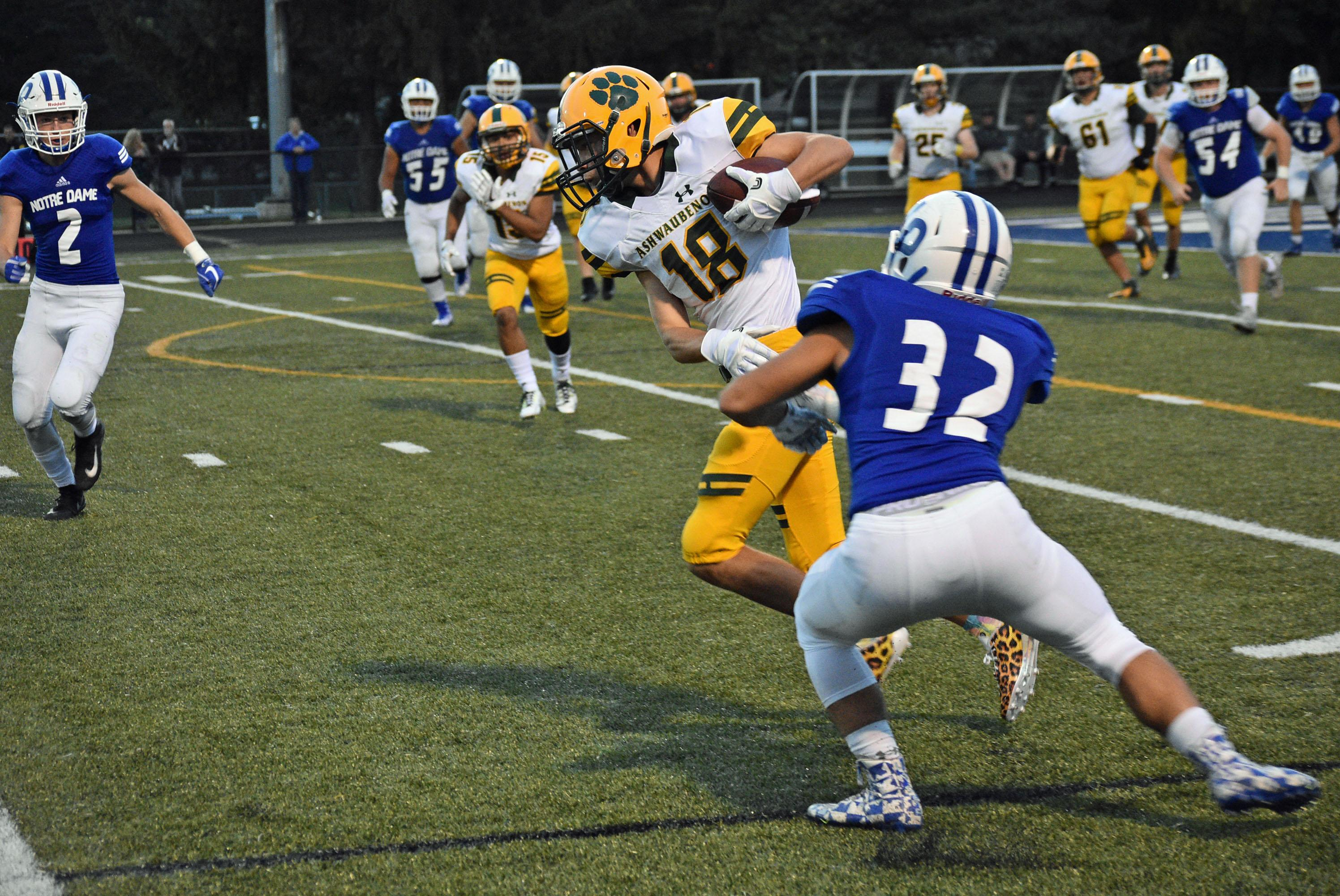 Notre Dame hosted Ashwaubenon in a Fox River Classic Conference football game Friday. (Doug Ritchay/WLUK)