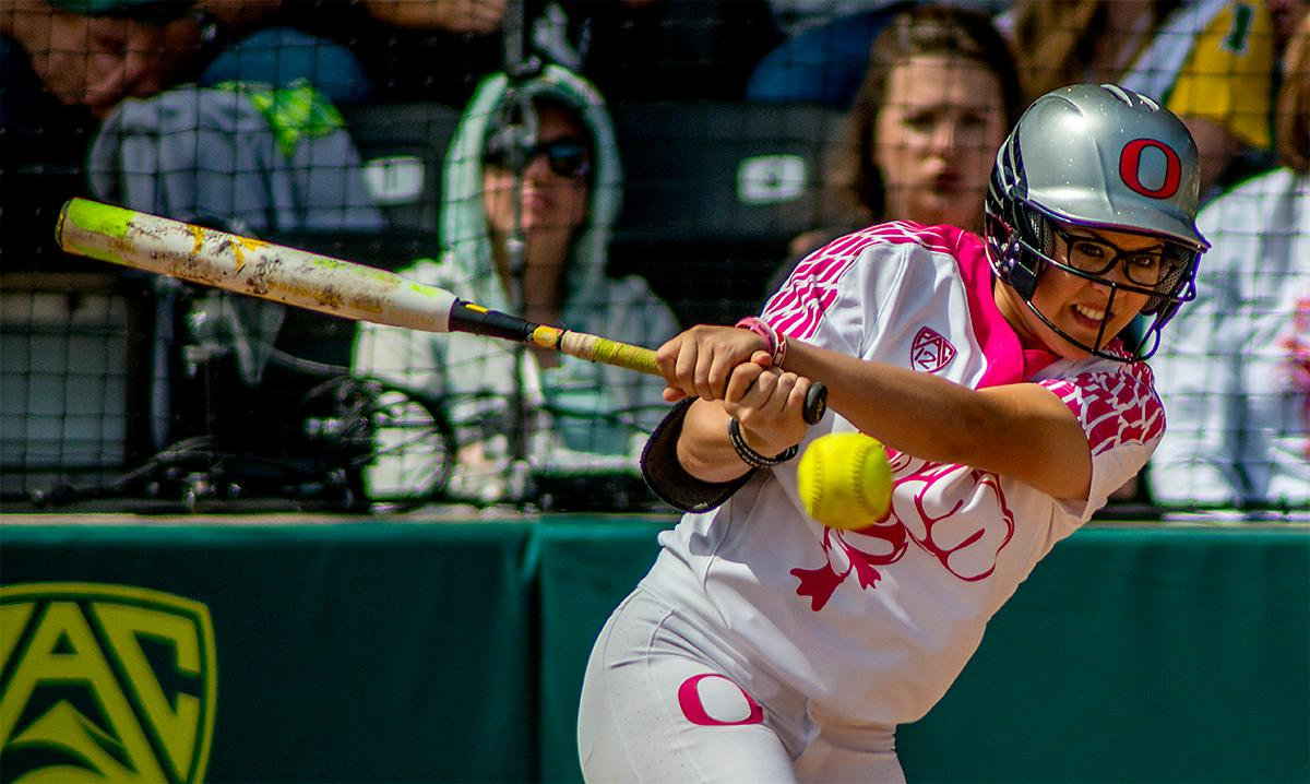 The Duck's Danica Mercado (#2) swings for the ball. The Oregon Ducks defeated the Oregon State Beavers 7-2 in game two of the three-game Civil War series at Jane Sanders Stadium on Saturday. The final game of the series will be on Sunday at 3:00 p.m. at Jane Sanders Stadium. Photo by August Frank, Oregon News Lab