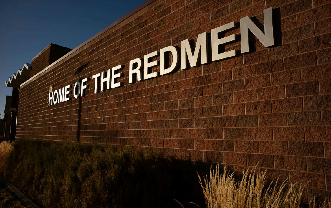 "FILE - A southern Utah city council is delaying a vote about whether to make a water tank adorned with a painted image of a Native American and the name ""Redmen"" an official city monument. (Trent Nelson/The Salt Lake Tribune via AP)"