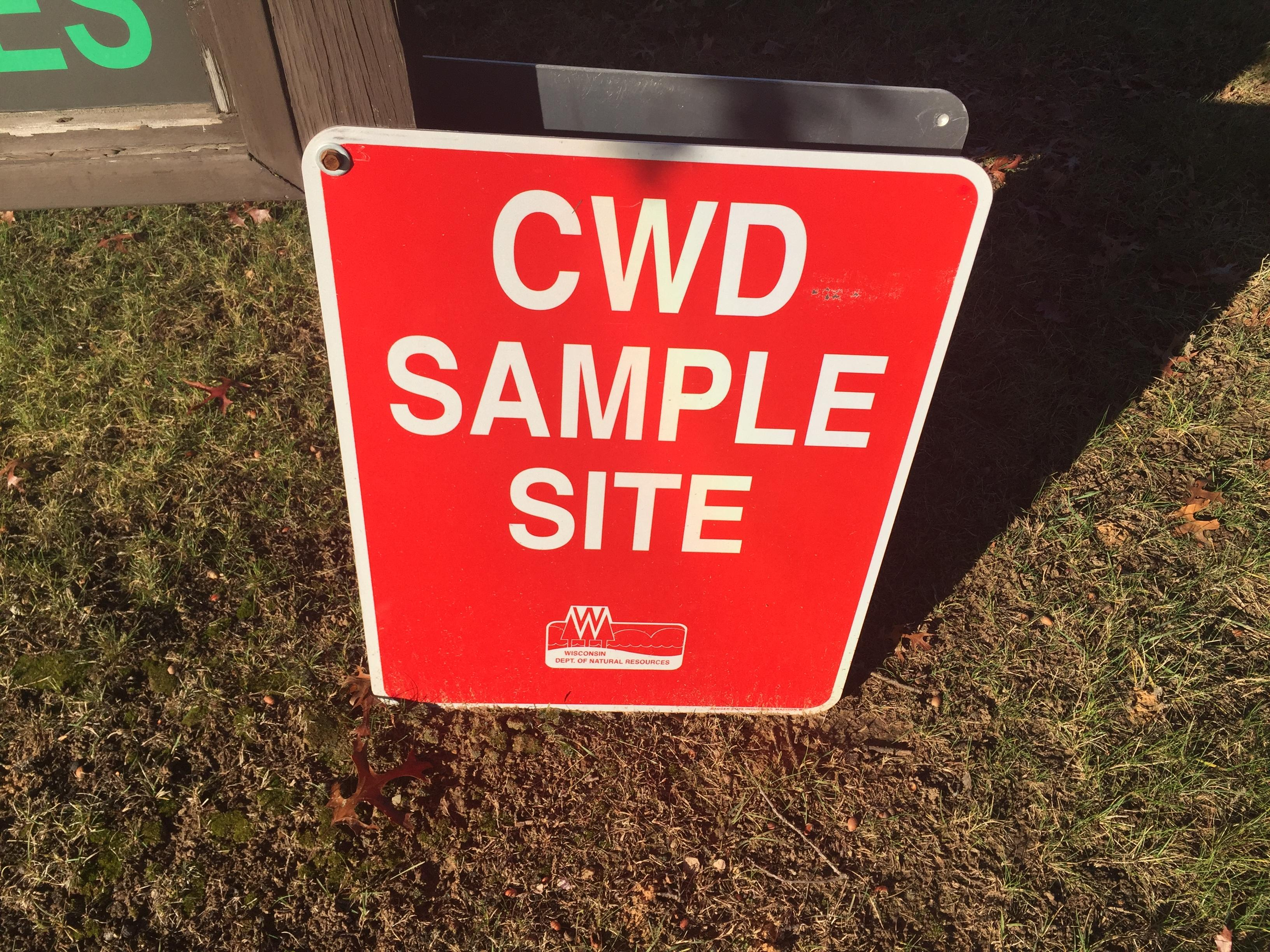 CWD sample site sign in Shawano, November 6, 2017 (WLUK/Eric Peterson)