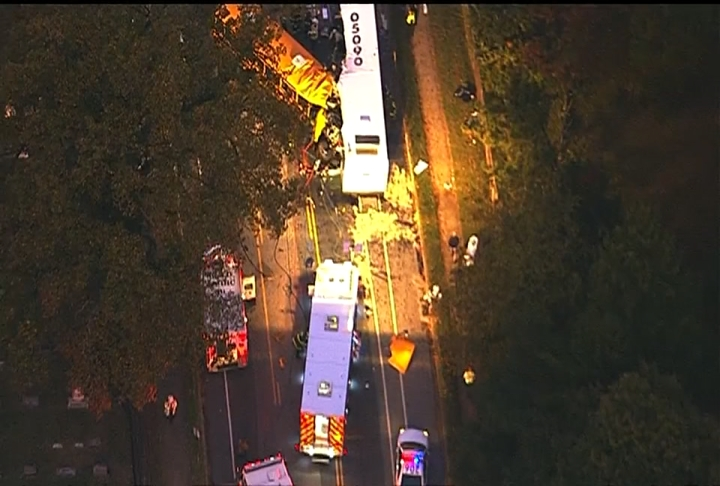 Emergency responders were called to the scene of a fatal bus crash in southwest Baltimore Tuesday morning.