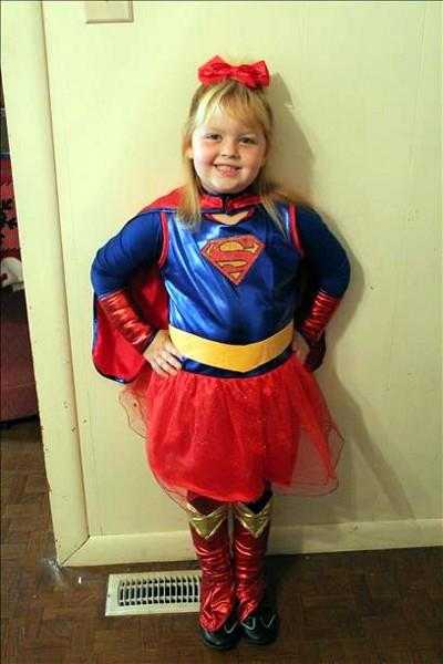 My daughter Angel Lily, age 4 1/2. As Supergirl!