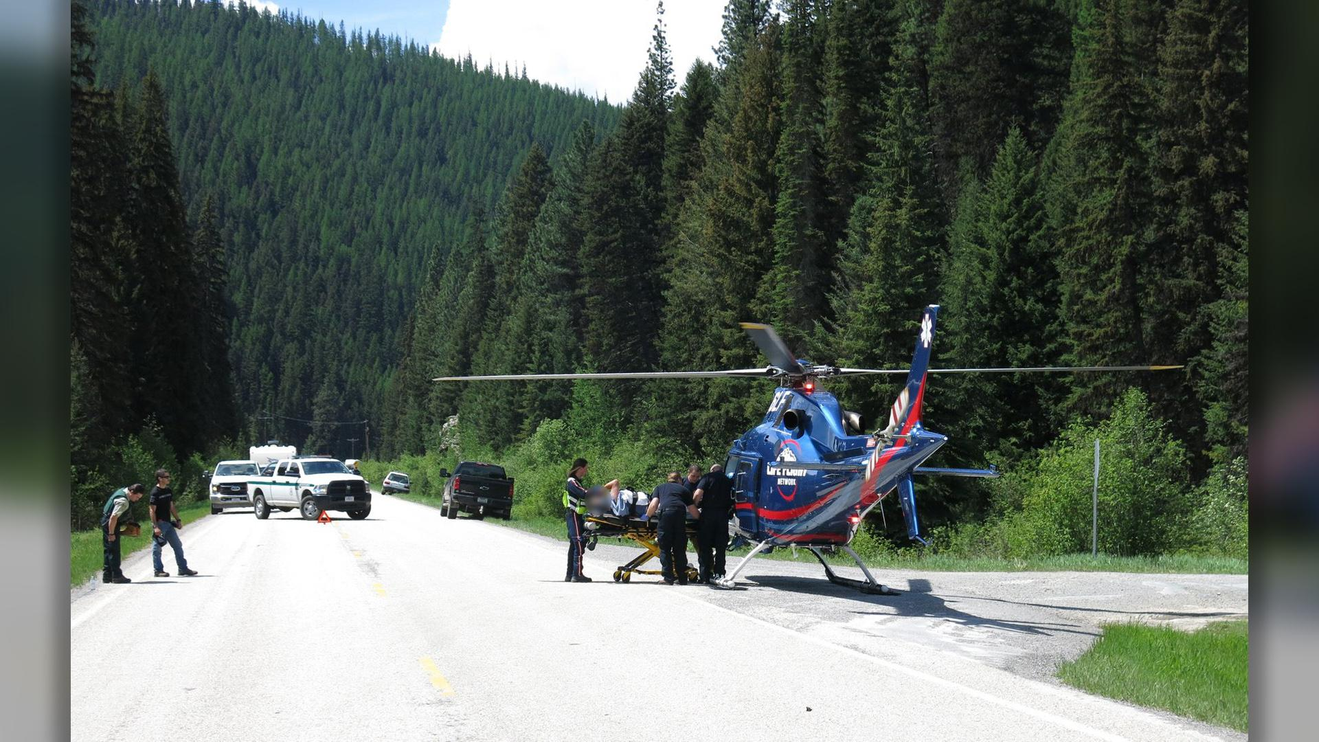Life Flight was called to Highway 12 west of Lolo for a motorcyclist who hit a deer. (Courtesy: Terry Kay)