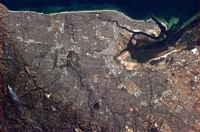 Adelaide, Australia, crystal clear from orbit on an early Fall afternoon.  (Photo & Caption: Chris Hadfield/NASA)