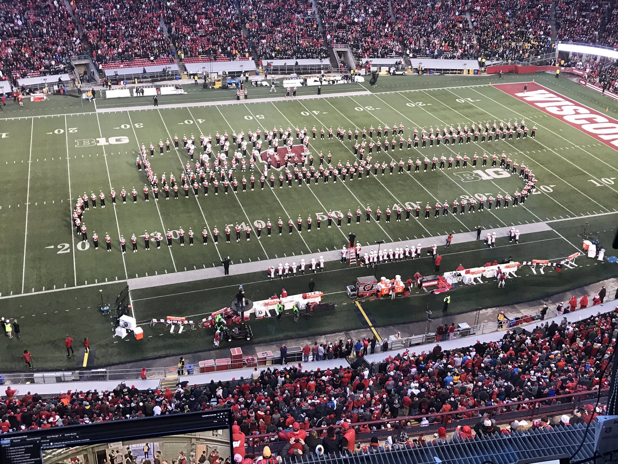 The University of Wisconsin Marching Band honors the U.S. Army during its halftime show Nov. 9, 2019. (Photo courtesy Ryan Wubben)