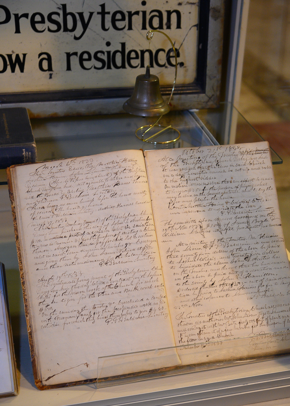 An entire display case is dedicated to the Presbyterian church down the street from the museum. Originally built in 1832, it had a seminary early on that taught teachers and sent them out west. Though the church disbanded in the 1880s, the museum has physical records and documents from its time as a church on display. / Image: Phil Armstrong, Cincinnati Refined // Published: 1.7.20