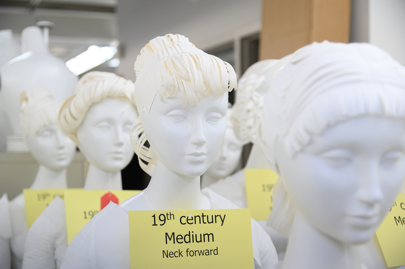 Variations in the mannequins are subtle, yet profound. Using the proper mannequin is a science Cynthia has mastered. / Image: Phil Armstrong, Cincinnati Refined // Published: 2.18.20