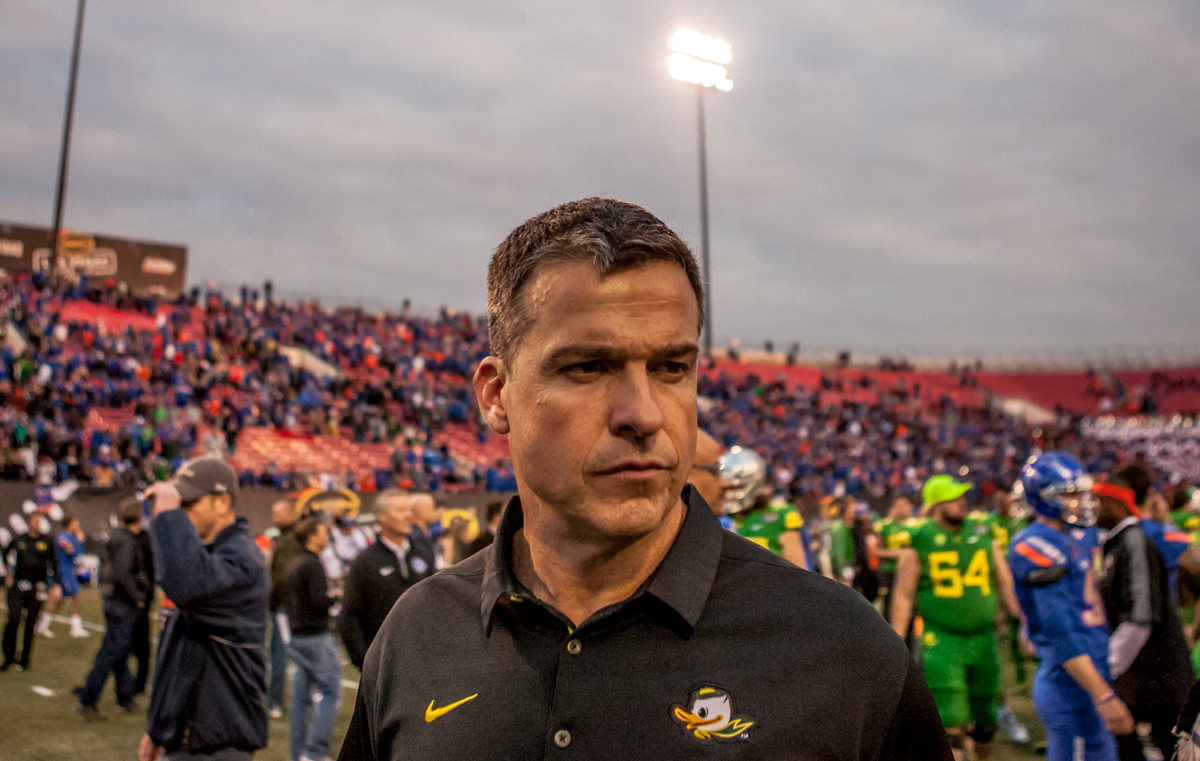 Oregon Head Coach Mario Cristobal following his first loss as head coach of the program. The Boise State Broncos defeated the Oregon Ducks 38 to 28 in the 2017 Las Vegas Bowl at Sam Boyd Stadium in Las Vegas, Nevada on Saturday December 17, 2017. The Las Vegas Bowl served as the first test for Oregon's new Head Coach Mario Cristobal following the loss of former Head Coach Willie Taggart to Florida State University earlier this month. Photo by Ben Lonergan, Oregon News Lab