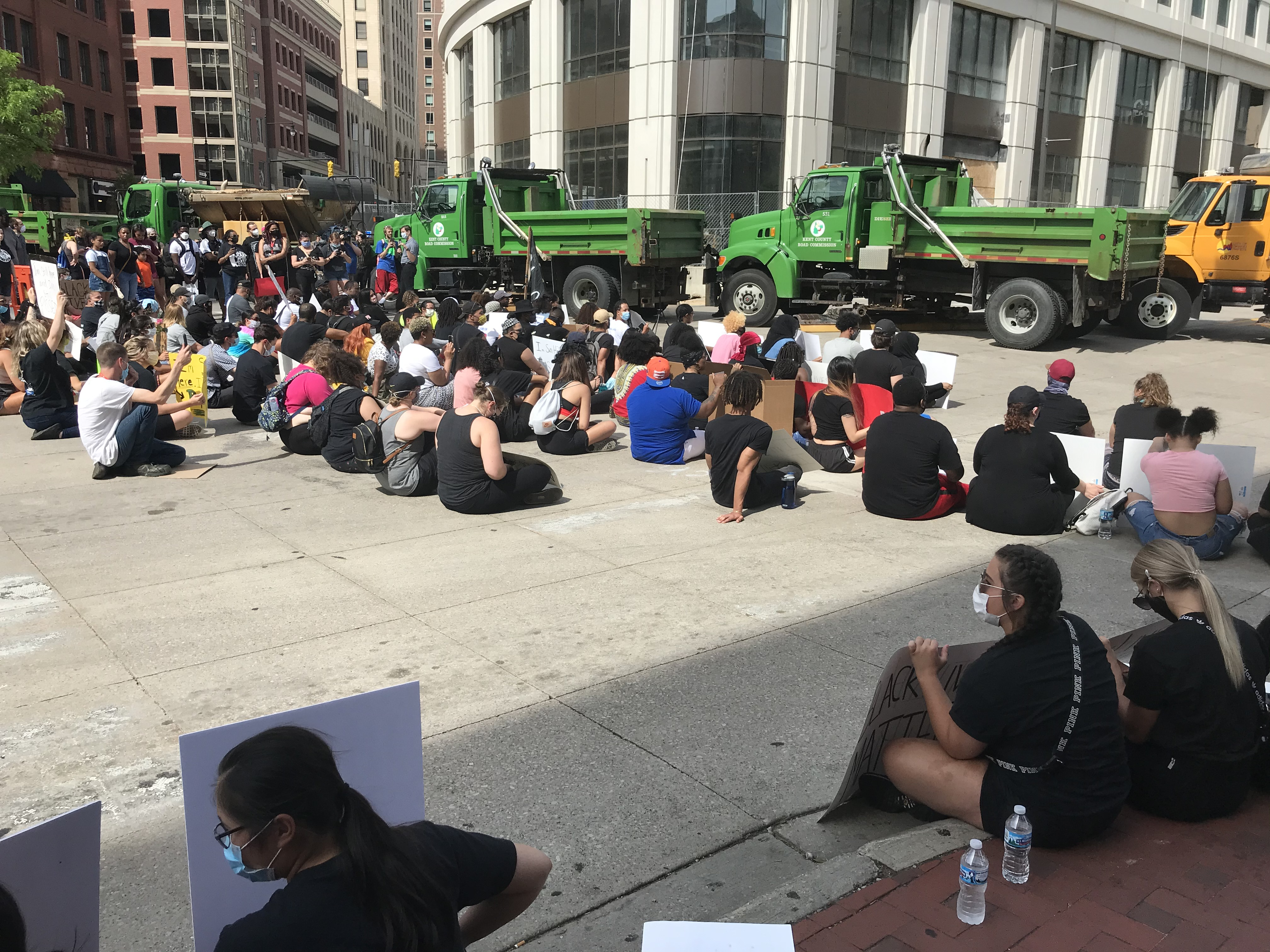Protesters waited in silence outside of the Grand Rapids Police station until{ }Grand Rapids Police Chief Eric Payne came out.  { }(WWMT/Tarvarious Haywood)