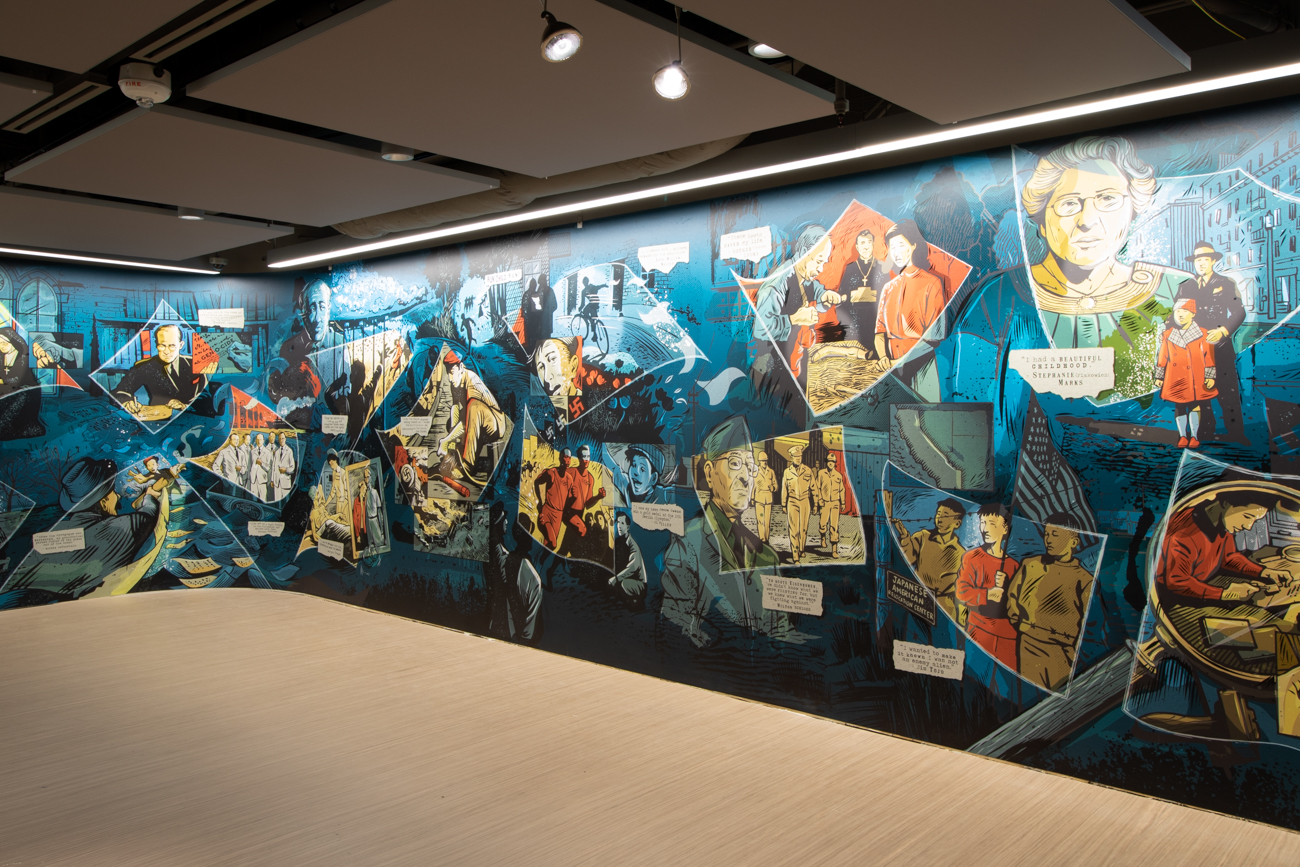 Created by local artist Keith Neltner, the lobby mural tells the story of local survivors via a graphic novel-inspired design.{ }/ Image: Ronny Salerno // Published: 1.14.19