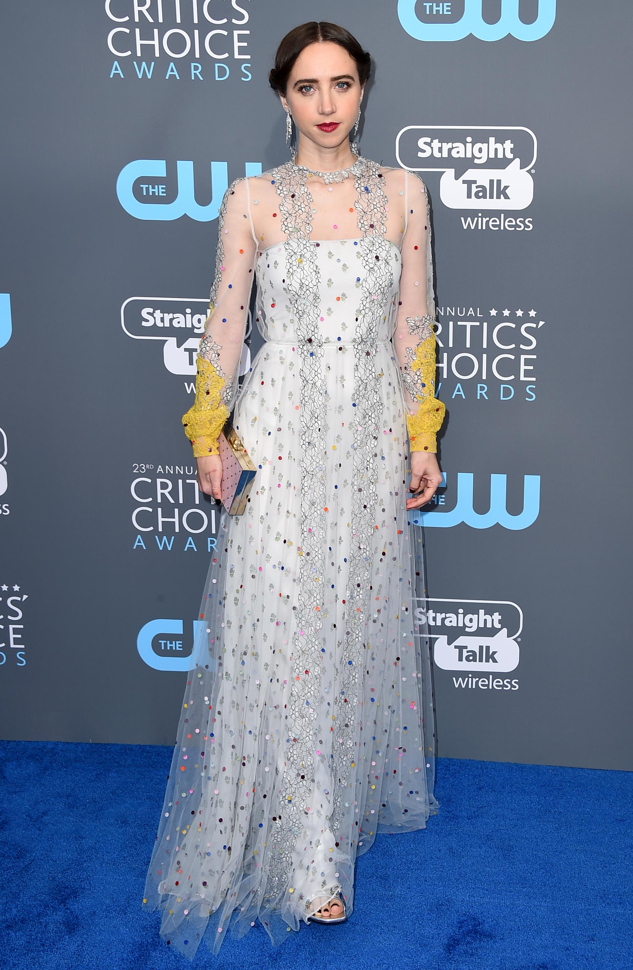 Zoe Kazan arrives at the 23rd annual Critics' Choice Awards at the Barker Hangar on Thursday, Jan. 11, 2018, in Santa Monica, Calif. (Photo by Jordan Strauss/Invision/AP)