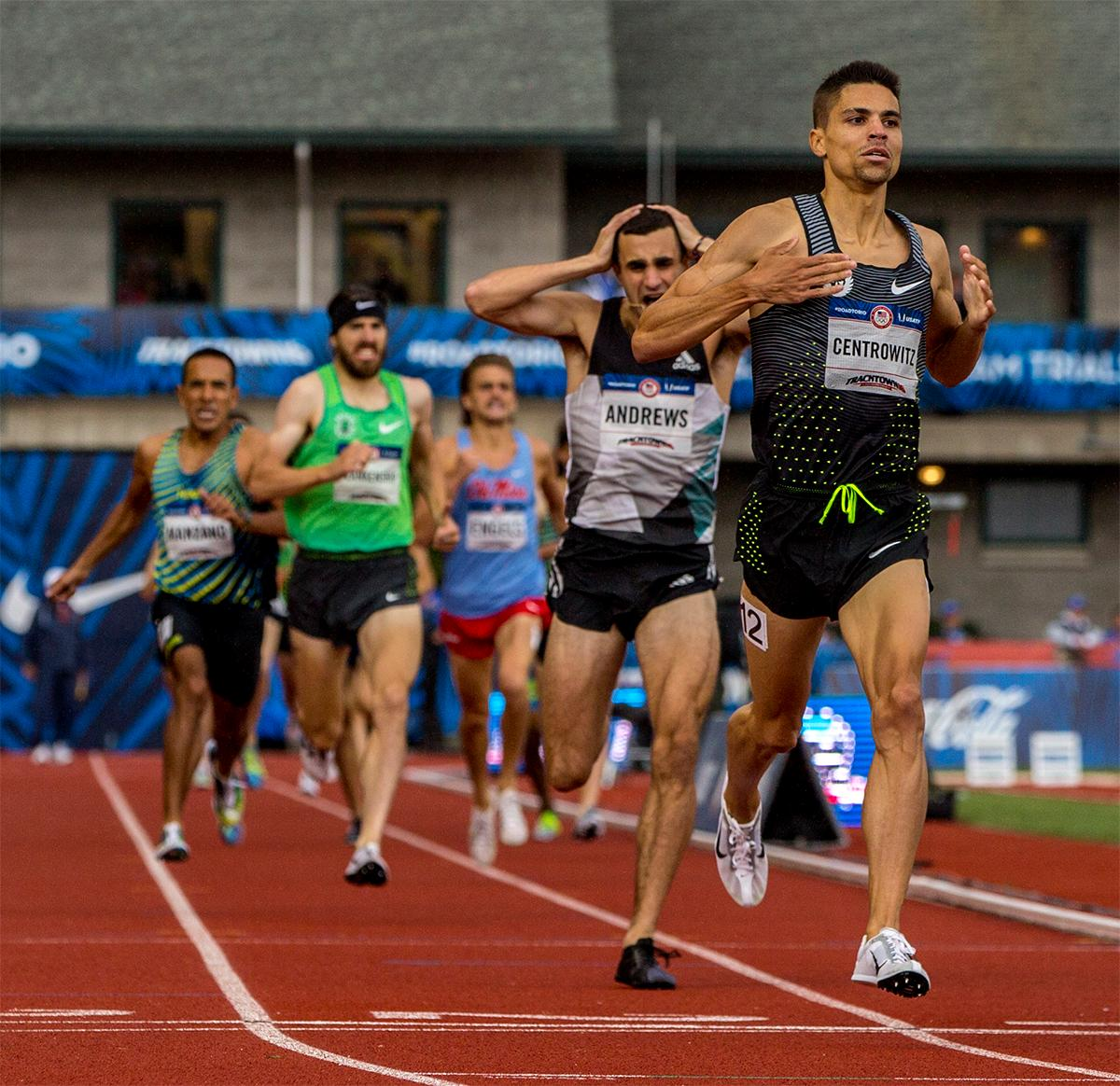 Nike Oregon Project's Matthew Centrowitz hits the line in the 1,500 meters and qualifies for Rio. Centrowitz won the race in 3:34.09. Photo by August Frank, Oregon News Lab