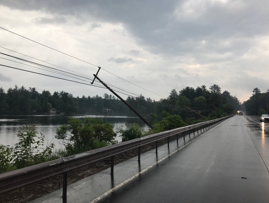 A portion of Moose Pond Causeway is  closed after trees were torn down from today's storms. (Courtesy: Bridgton PD)