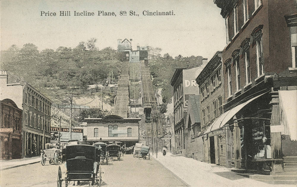 "The Price Hill Incline was the second of the five to open (1875). It featured two 800-foot-long tracks; one for passengers and one for freight. It connected today's Olden View Park to the intersection of Eighth Street and State Avenue below it. Understanding the elevation and its relatively short length, the Price Hill Incline was the steepest of the bunch. Additionally, it was also the only family owned and operated incline. William Price, grandson of Evans Price (founder of Price Hill), built the structure. Price Hill House, which sat upon the site of today's Queens Tower, offered a restaurant with music and entertainment to those who rode to the top. Because Price Hill House didn't serve alcohol for a time, the hill was jokingly nicknamed ""Buttermilk Mountain."" The incline closed in 1942. / Image courtesy of the Public Library of Cincinnati and Hamilton County // Published: 1.2.19"