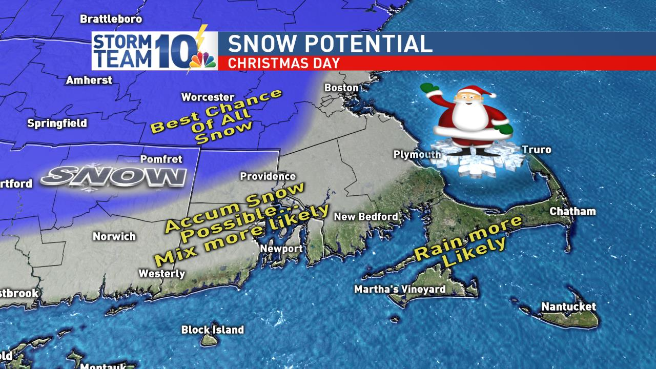 The best chance for snow this Christmas is farther inland<p></p>