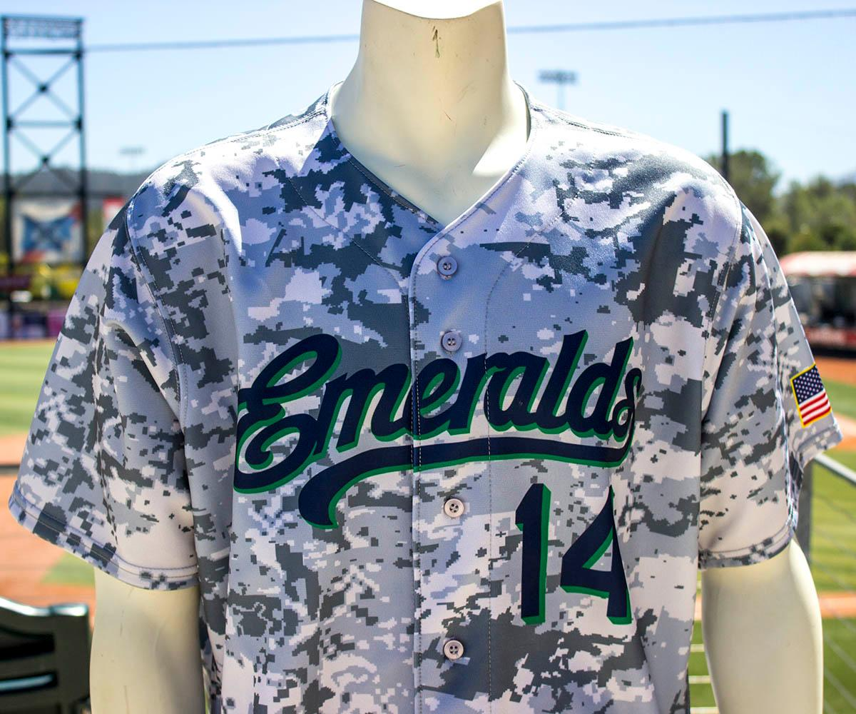 The Eugene Emeralds' themed jerseys began before current graphic designer Danny Cowley was hired. This jersey was designed for military appreciation night. The Eugene Emeralds will hold a Throwback Thursday and Teacher Appreciation Night August 18. Teachers can get free box seats. (Photo by Amanda Butt)