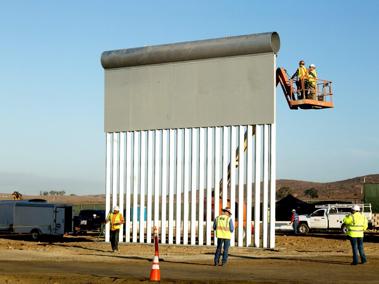 This photo shows one of the eight prototypes for a border wall being built in San Diego. (MGN)<p></p>
