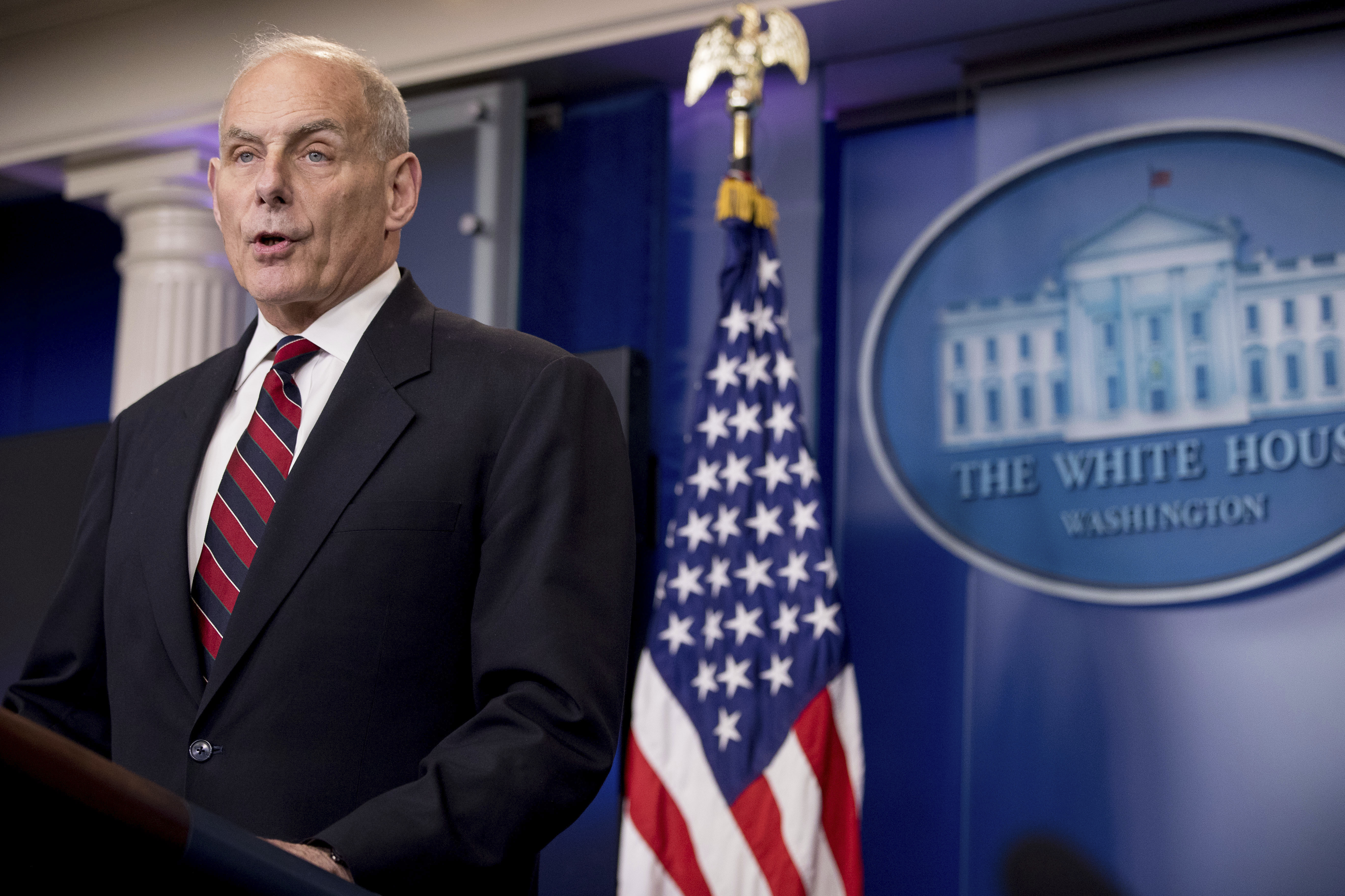 FILE - In this May 2, 2017 file photo, Homeland Security Secretary John Kelly speaks at the White House in Washington. The Trump administration is taking the unusual step of hunting for evidence of crimes committed by Haitian immigrants as it decides whether to allow them to continue participating in a humanitarian program that has shielded tens of thousands from deportation since an earthquake destroyed much of their country .(AP Photo/Andrew Harnik, File)