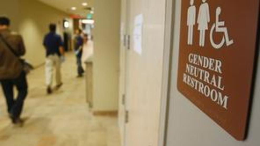 23, 2007 photo, a sign marks the entrance to a gender neutral restroom at University of Vermont. (AP Photo/Toby Talobot, file)
