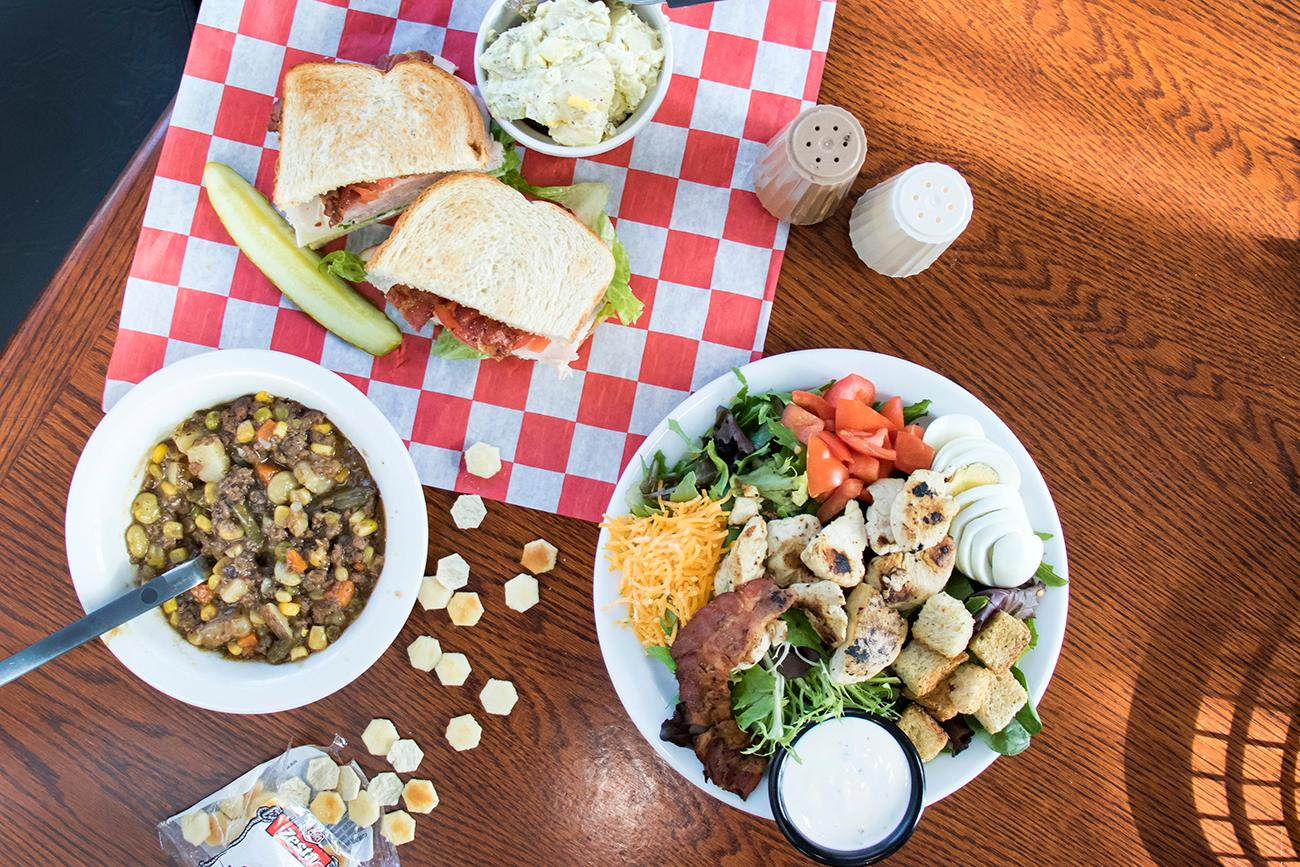 Cobb Salad, beef pot roast, turkey club, and potato salad{ }/ Image: Allison McAdams // Published: 11.16.18