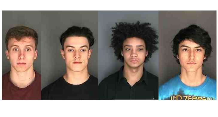 Four arrested, accused of stealing wallet, vandalizing vehicle
